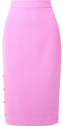 Lela Rose Faux Pearl-embellished Wool-blend Crepe Pencil Skirt - Pink