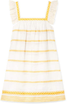 Tory Burch Ruffled Embroidered Linen And Cotton-blend Mini Dress - Yellow