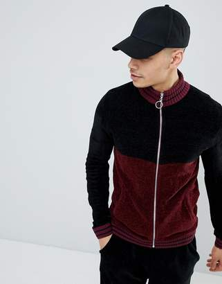 Asos Knitted Co-Ord Chenille Track Jacket With Stripe In Burgundy