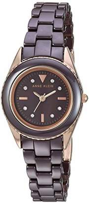 Anne Klein Women's AK/3164BNRG Swarovski Crystal Accented Rose Gold-Tone and Brown Ceramic Bracelet Watch