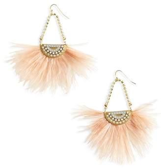 SANDY HYUN Pearl Feather Earrings