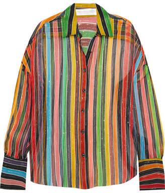 Caroline Constas Jetset Metallic Striped Silk-chiffon Shirt - Red