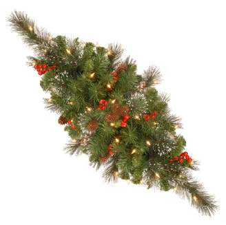 "Three Posts Spruce Pre-Lit 30"" Centerpiece with 35 Battery-Operated White LED Lights"