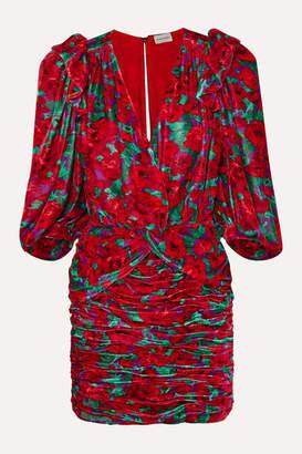 Magda Butrym Mundo Ruched Floral-print Velvet Mini Dress - Red