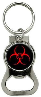 Generic Biohazard Warning Symbol Bottle Cap Opener Keychain Ring