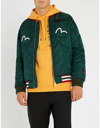 Evisu Godhead-embroidered padded shell jacket