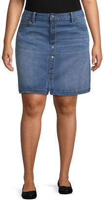 Boutique + + Denim Skirt - Plus