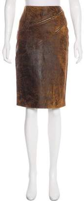 Michael Kors Distressed Leather Skirt