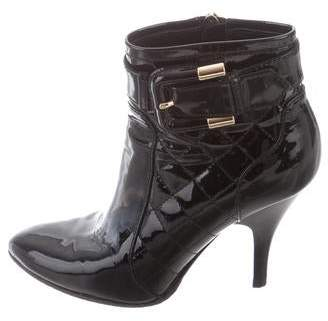 Burberry Patent Leather Round-Toe Ankle Boots