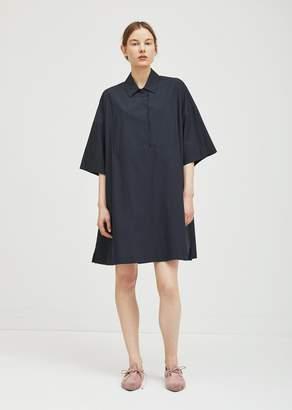 Hache Cotton Shirt Dress Navy