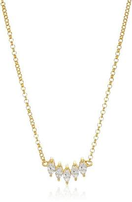 18k Gold Plated Sterling Silver Marquise Cubic Zirconia Necklace