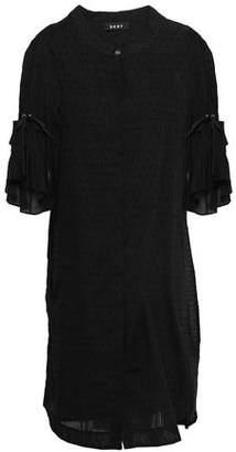 DKNY Lace-up Ruffled Swiss-dot Cotton Dress