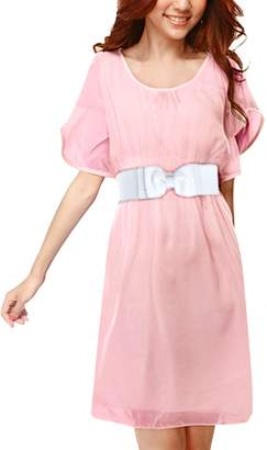 Allegra K Women Butterfly Sleeves Belted Above Knee Chiffon Dress XS
