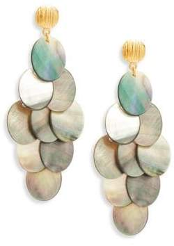 Statement Grey Mother-Of-Pearl Chandelier Earrings