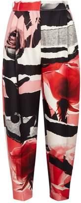 Alexander McQueen Rose Collage Wool-Silk Peg Trousers