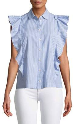 Kate Spade Flutter Button-Down Stripe Top
