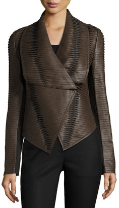 P. Luca Faux-Leather Striped Drape-Front Jacket, Brown $196 thestylecure.com