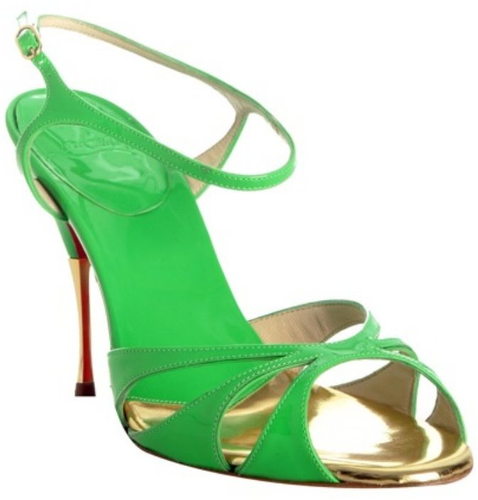 Christian Louboutin lime green patent leather 'Noeudette' sandals