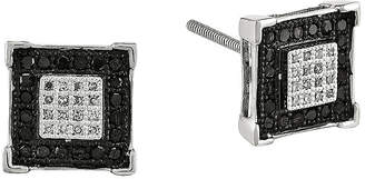 Black Diamond FINE JEWELRY 1/3 CT. T.W. White and Color-Enhanced Sterling Silver Square Post Earrings