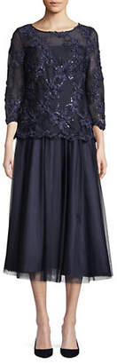 Alex Evenings Embellished Overlay Midi Dress
