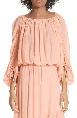 Joie Elazara Ruched Sleeve Peasant Top