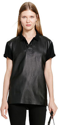 Polo Ralph Lauren Boyfriend Leather-Front Polo $265 thestylecure.com