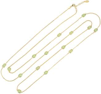 Latelita - Venice 120cm Long Chain Necklace Gold Aqua Chalcedony
