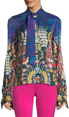 Peter Pilotto Tie-Neck Long-Sleeve Multi-Print Silk Blouse