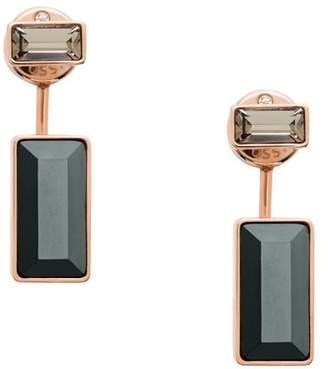 Fossil Baguette Rose Gold-Tone Stainless Steel Front-Back Drop Earrings jewelry ROSE GOLD