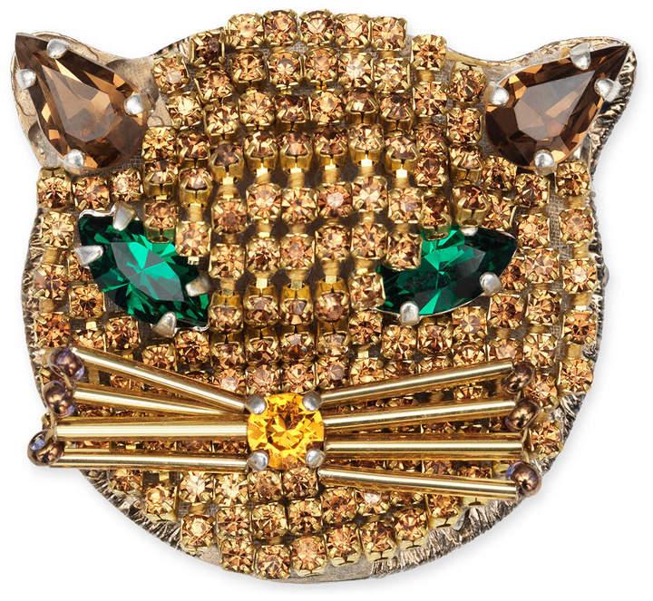 GucciFeline brooch with crystals