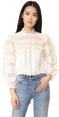 Rebecca Taylor Long Sleeve Poplin Lace Top $495 thestylecure.com