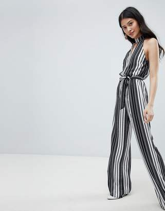 Oh My Love High Neck Striped Jumpsuit With Cut Out Detail