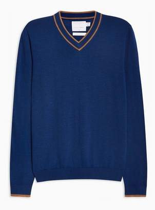 Topman Mens Blue Merino Tipped V Neck Sweater