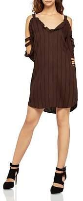 BCBGeneration Ruffled Cold-Shoulder Striped Dress