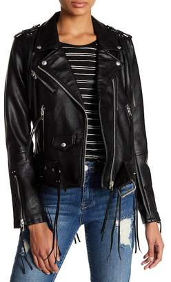 Blank NYC BLANKNYC Denim Faux Leather Tassel Moto Jacket