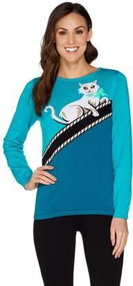 Bob Mackie Bob Mackie's Kitty Kat Intarsia Sweater
