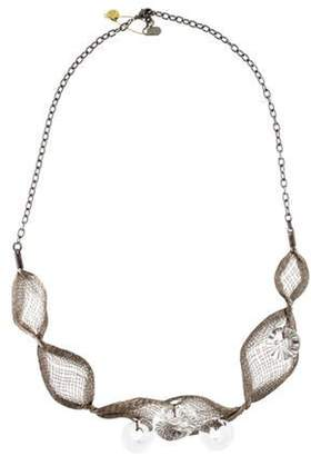 Colette Malouf Mesh Crystal Collar Necklace Silver Mesh Crystal Collar Necklace