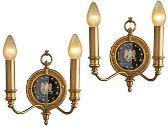 Rejuvenation Pair of Federalist Sconces w/ Glass Eagle Medallions