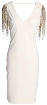 Badgley Mischka Fringed Embellished Cady Dress