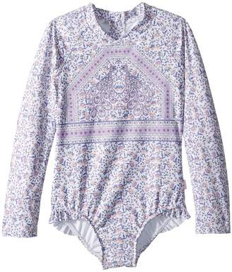 Seafolly Peacock Paisley Long Sleeve Surf Tank One-Piece Girl's Swimsuits One Piece