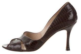 Manolo Blahnik Crocodile Peep-Toe Pumps
