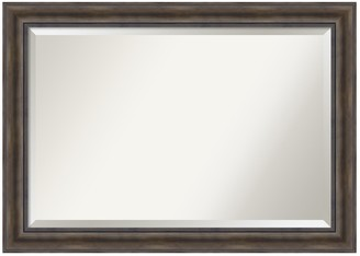 Rustic Extra Large Pine Finish Distressed Wood Wall Mirror