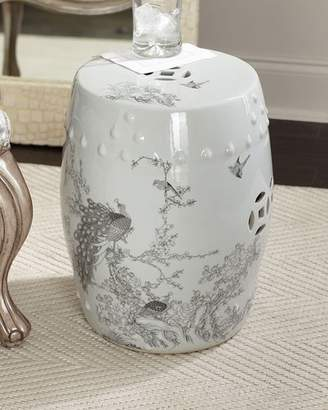 Legends Of Asia Garden Stool with Peacock Motif