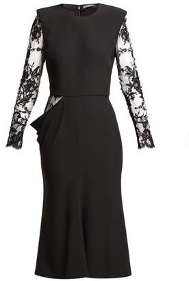 Alexander McQueen Lace Sleeve Crepe Midi Dress - Womens - Black