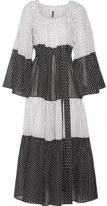 Tiered Polka-dot Cotton-voile Maxi Dress - White