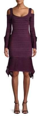 Herve Leger Knit Cold-Shoulder Dress