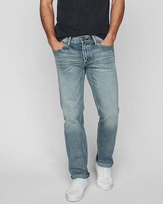 Express Slim Straight Light Wash 4 Way Stretch Jeans