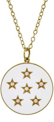Andrea Fohrman Diamond and White French Enamel Full Moon Necklace