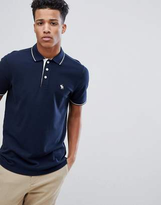 Abercrombie & Fitch Stretch Core Moose Logo Tipped Slim Fit Polo In Navy