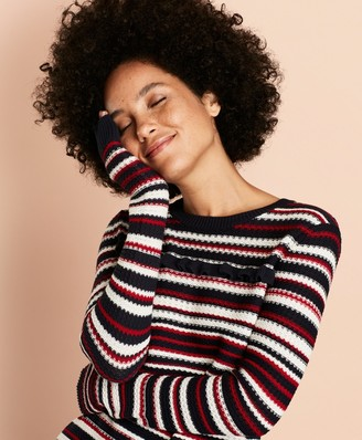 Brooks Brothers Striped Pointelle Cotton Sweater